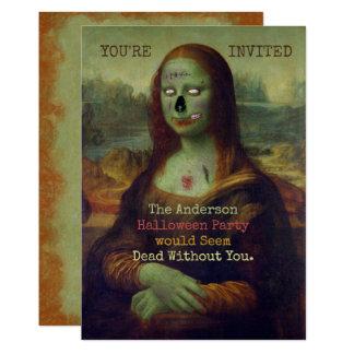 Halloween Zombie Mona Lisa Scary Spooky Party Card