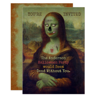 Halloween Zombie Mona Lisa Scary Spooky Party Invitation