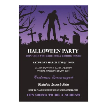 Halloween Themed Halloween Zombie Party Spooky Graveyard Invitation
