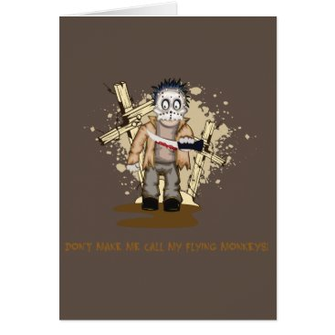 Halloween Themed Halloween zombie with blood knife in cemetery card