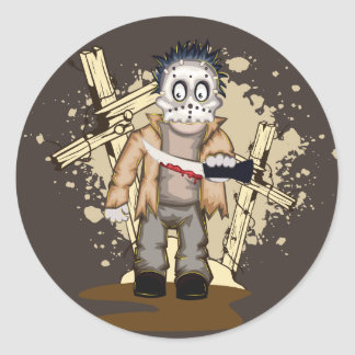 Halloween zombie with blood knife in cemetery classic round sticker