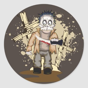Halloween Themed Halloween zombie with blood knife in cemetery classic round sticker