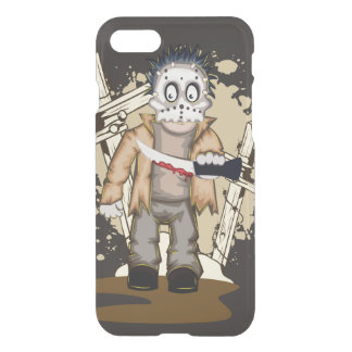 Halloween zombie with blood knife in cemetery iPhone 8/7 case