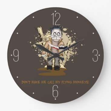 Halloween Themed Halloween zombie with blood knife in cemetery large clock