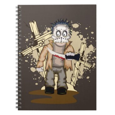 Halloween Themed Halloween zombie with blood knife in cemetery notebook