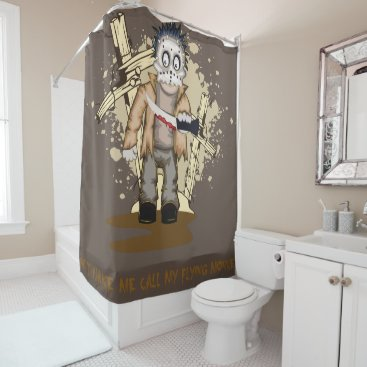 Halloween Themed Halloween zombie with blood knife in cemetery shower curtain