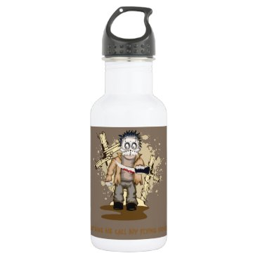 Halloween Themed Halloween zombie with blood knife in cemetery water bottle