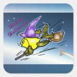 HalloweenFish - dibujo feliz vivaracho Calcomanía Cuadradase