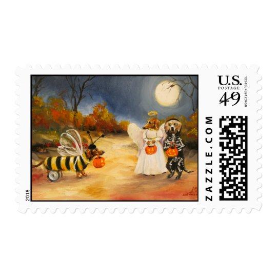 Halloweenies Dachshund Dogs in Halloween Costumes Postage