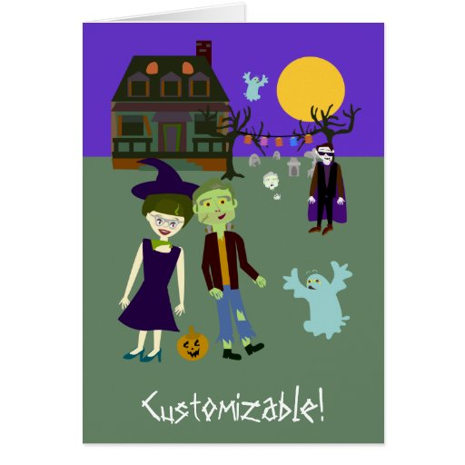 Halloweenies Outdoor Party Greeting Cards