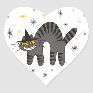 Halloweenish Magical Mr. Midnight Heart Sticker