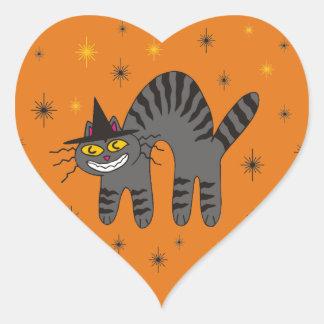 Halloweenish Magical Mr. Midnight on Orange Heart Sticker