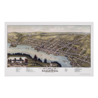 Hallowell, ME Panoramic Map - 1878 Poster