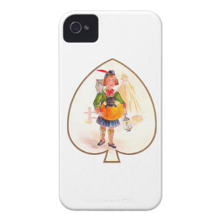 Hallowen Boy with Pumpkin Cat iPhone 4 Cover