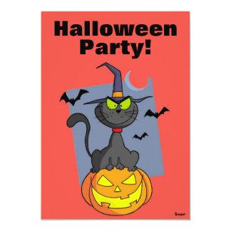 "Hallowen - Halloween Party Cat 5"" X 7"" Invitation Card"