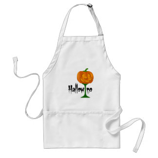 Hallowino Pumpkin Wine Glass Halloween Adult Apron