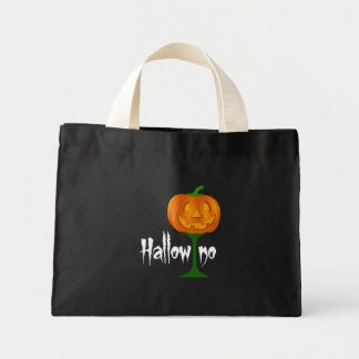 Hallowino Pumpkin Wine Glass Halloween Mini Tote Bag