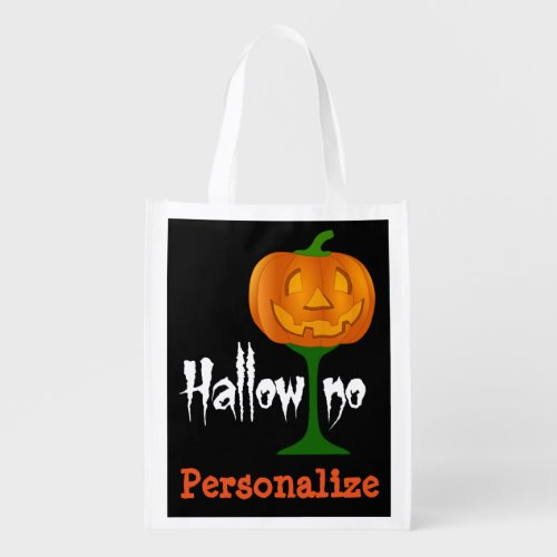 Hallowino Pumpkin Wine Glass Halloween Reusable Grocery Bag