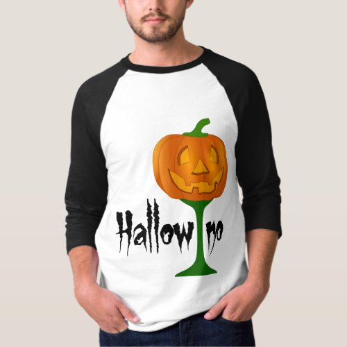 Hallowino Pumpkin Wine Glass Halloween Raglan T-Shirt