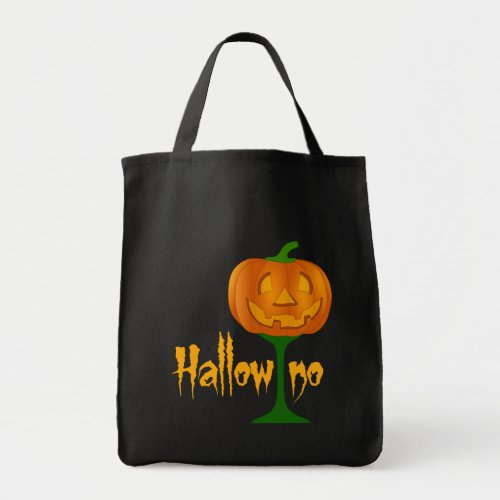 Hallowino Pumpkin Wine Glass Halloween Tote Bag