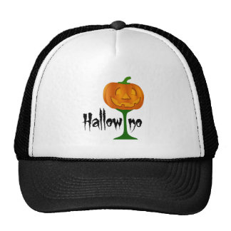 Hallowino Pumpkin Wine Glass Halloween Trucker Hat