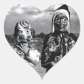 Hallow's Eve of Yesteryear Masks Heart Sticker