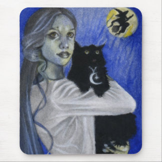 Hallow's Eve Witch Black Cat Mousepad