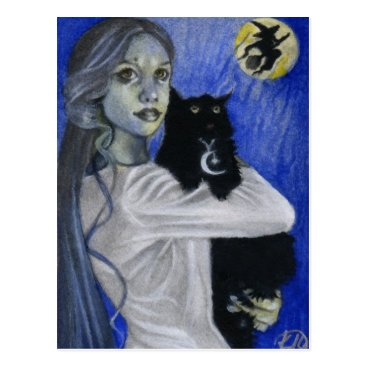 Halloween Themed Hallow's Eve Witch Cat Postcard