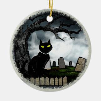 Hallows Graveyard Halloween Double-Sided Ceramic Round Christmas Ornament