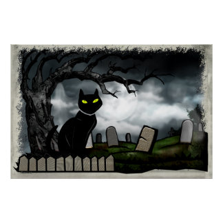 Hallows Graveyard Halloween Folk Art Poster