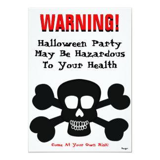 Hallowwen- WARNING! Hazardous to Your Health 5x7 Paper Invitation Card