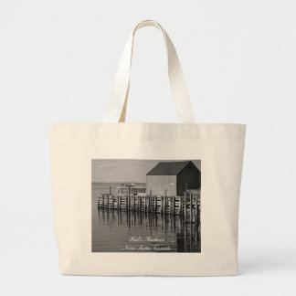 Hall's Harbour Wharf (B&W) Bag