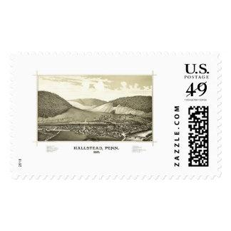 Hallstead, PA Panoramic Map - 1887 Postage Stamp