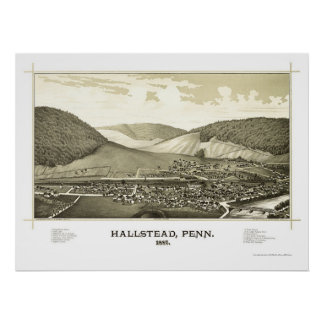 Hallstead, PA Panoramic Map - 1887 Poster