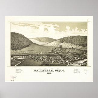 Hallstead Pennsylvania 1887 Antique Panoramic Map Poster