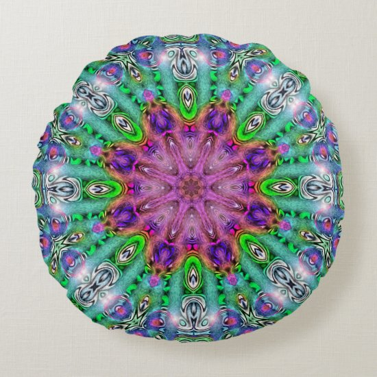 Hallucinogen Solstice Mandala Round Pillow