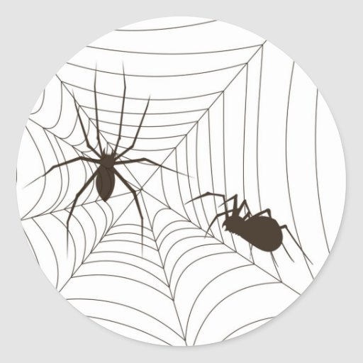 Hallween spiders and Web Classic Round Sticker