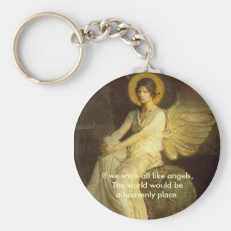 Halo angel, If we were all like angels.. Basic Round Button Keychain