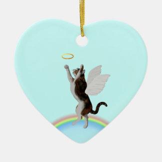 Halo de cogida del gato de calicó adorno navideño de cerámica en forma de corazón
