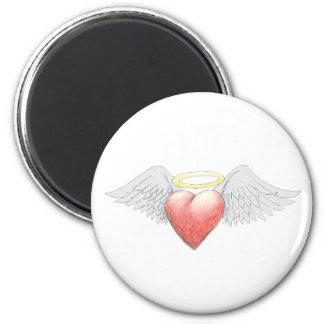 Halo del ala del corazón imán redondo 5 cm