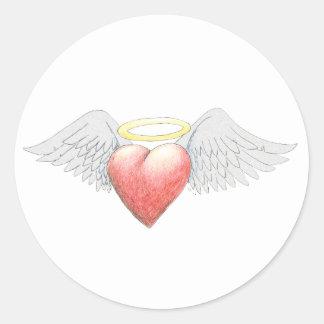 Halo del ala del corazón pegatina redonda