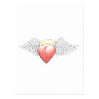 Halo del ala del corazón tarjetas postales