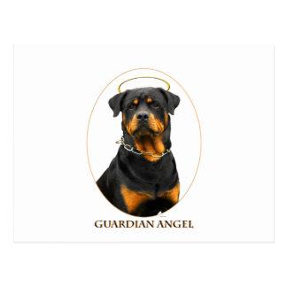 halo del rottweiler del ángel de guarda postales