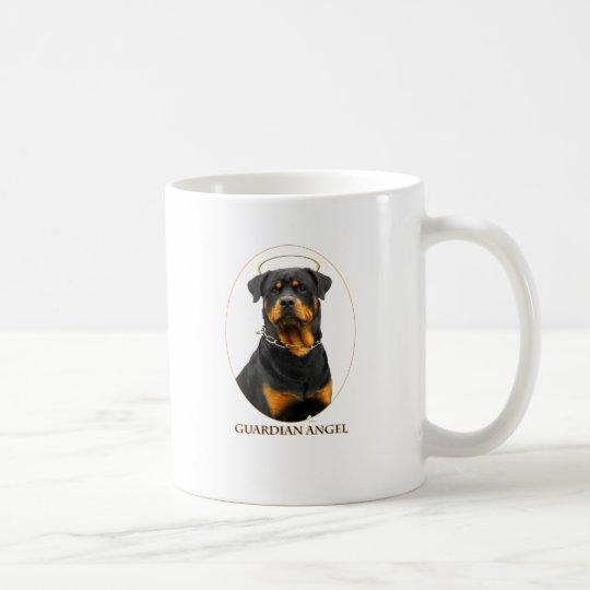 halo del rottweiler del ángel de guarda taza de café