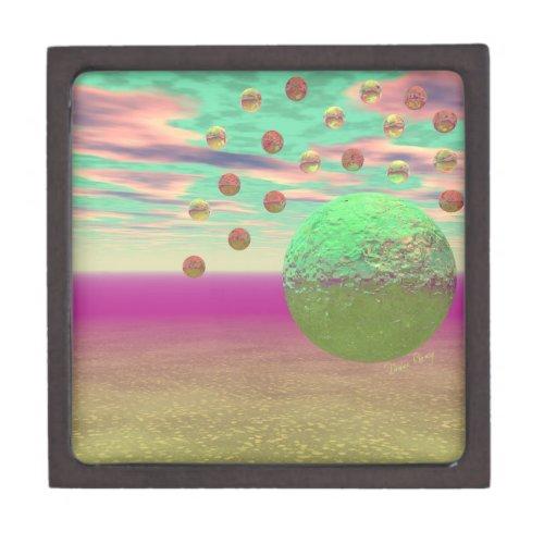 Halo of Moons, Abstract Colorful Cosmos Keepsake Box