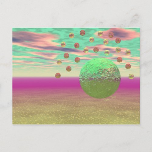 Halo of Moons, Abstract Colorful Cosmos Postcard