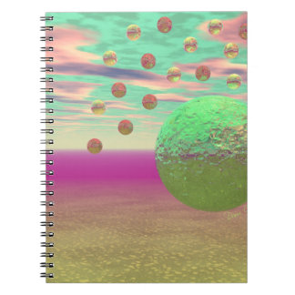 Halo of Moons, Abstract Colorful Cosmos Spiral Notebook