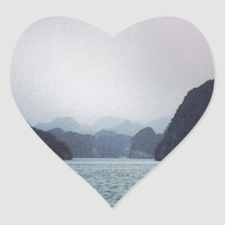 Halong Bay Soft blue, dreamy, mountains and water Heart Sticker