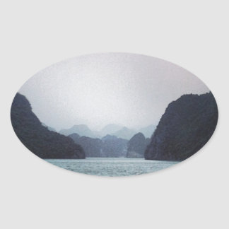 Halong Bay Soft blue, dreamy, mountains and water Oval Stickers