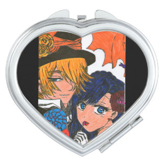 Haloween couples compact mirror